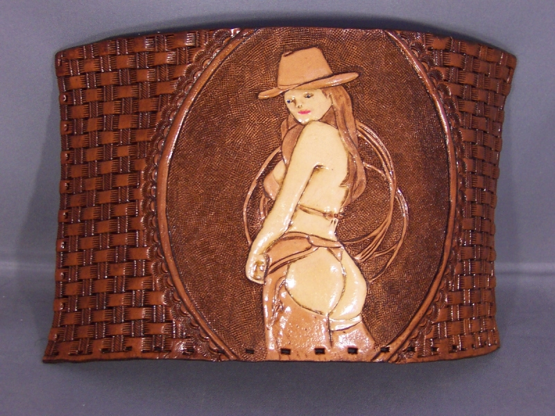 Country for life belt, pin up coozie 003