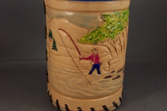 Bar glass coozie, fishing scene coozie 008