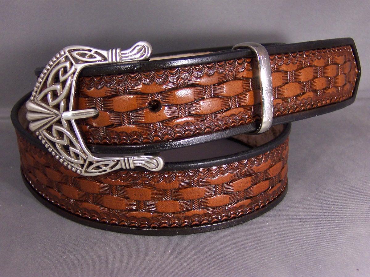 Basketweave Belt with Celtic Buckle