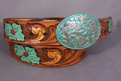 Turquoise Tooled Floral Belt