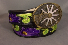 Purple Tooled Floral Belt