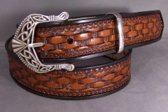 Basketweave Belt with Celtic Buckle