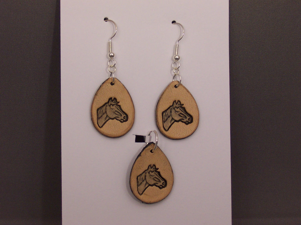 Horse Head Earrings and Pendant