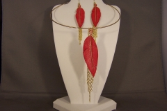 Leather Feather Earrings and Necklace
